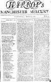 Manchester Mercury Tue 17 Mar 1752 Page 1