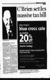 O'Brien settles , massive tax bill Debenhams blue cross sale an extra 20 Otf TAX COMMENT: Cone, Cruise O'Brien said